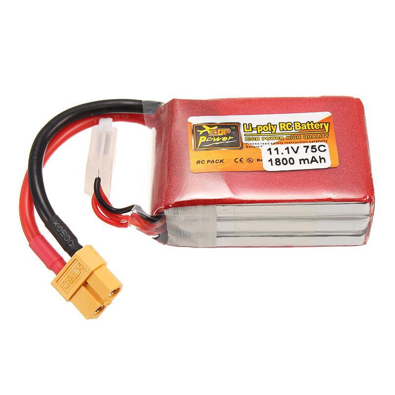 ZOP กำลังไฟ 11.1V 1800mAh 75C 3S Lipo แบตเตอรี่ ปลั๊ก XT60