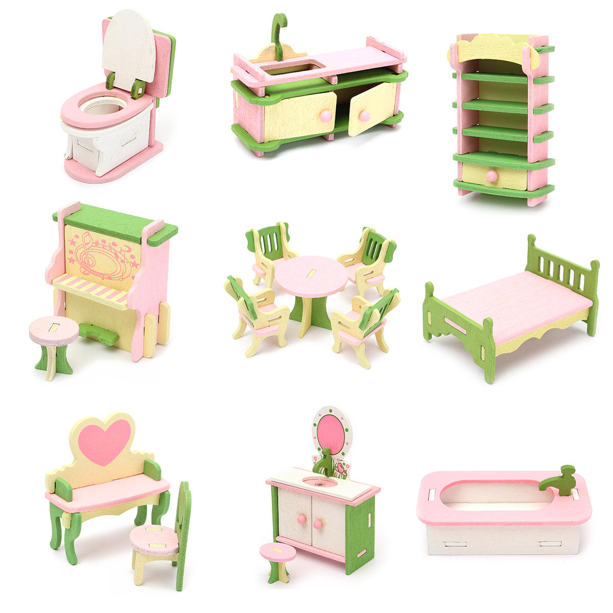Doll Houses Toys & Hobbies Strong-Willed Diy Miniatures Sofa Bedroom Bathroom Dining Table Furniture Sets For Doll House Craft Toys Acessories Christmas Birthday Gift