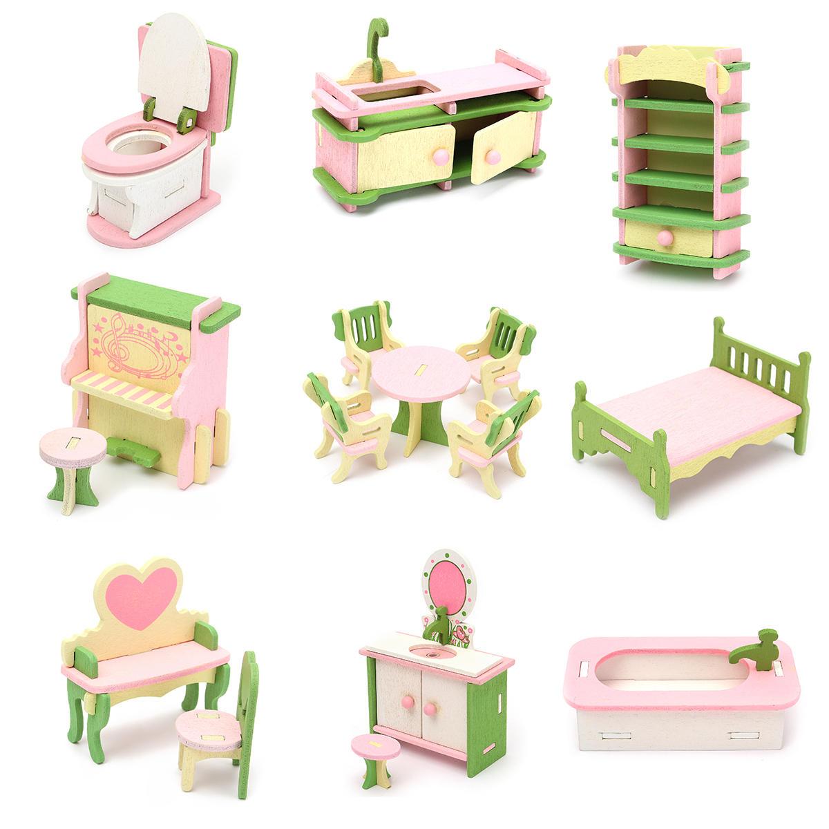 Houten meubilair Set Doll House Miniatuur Kamer Accessoires Kids Pretend Speel Toy Gift Decor