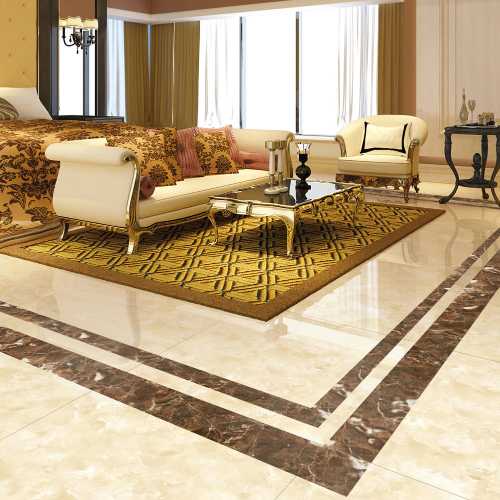 Plated Marble Pattern Diy Tile Sticker High End Floor Decorative Line Stickers Flooring