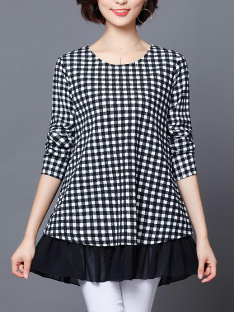 Casual Women Long Sleeve Plaid Patchwork Ruffle Hemblus
