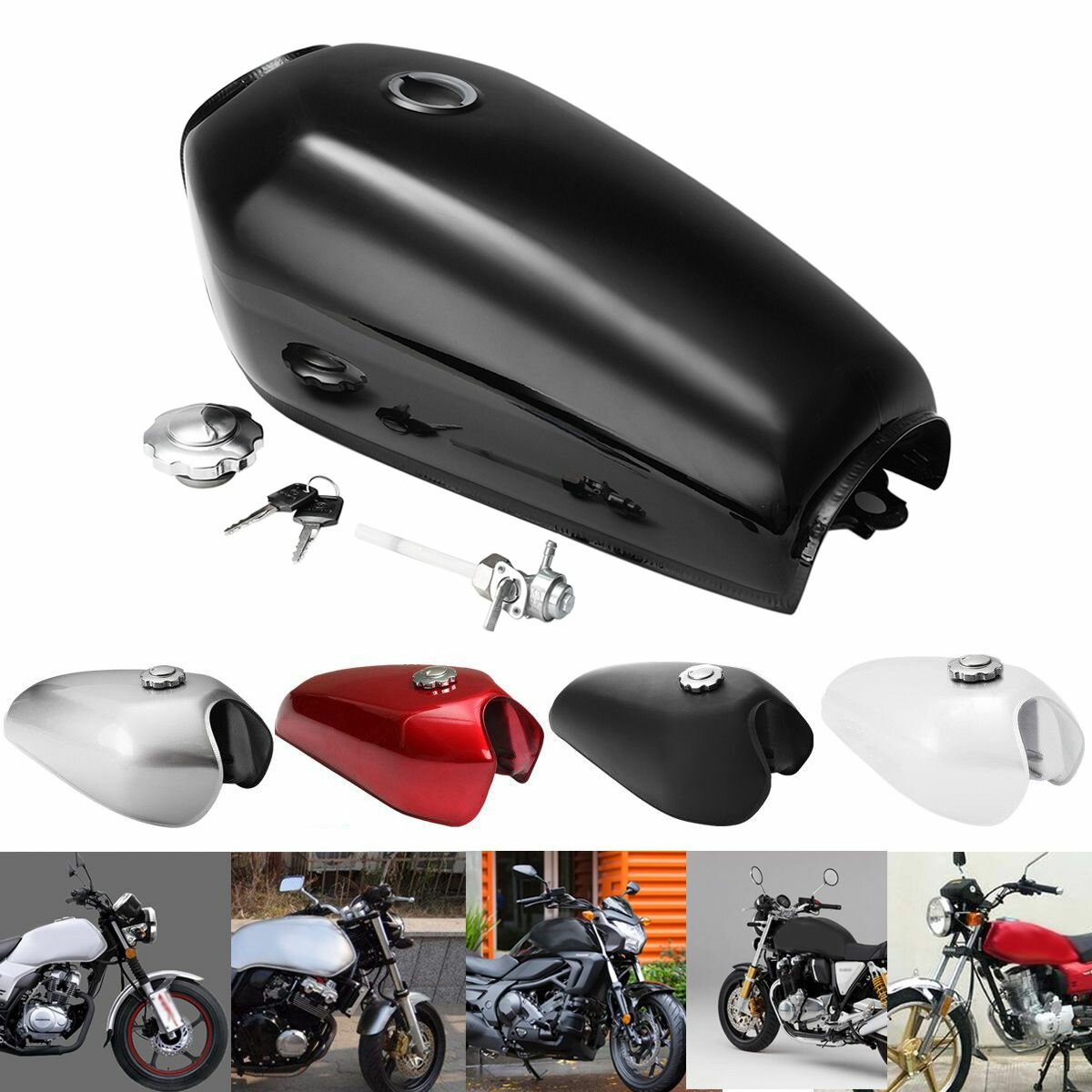 Motorcycle Cafe Racer Vintage Fuel Gas Tank With Tap For Honda CG125 AA001