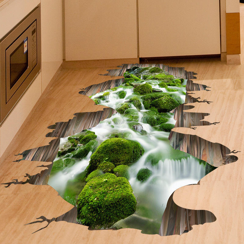 3d Stream Floor Decor Wall Sticker Removable Mural Decals Vinyl Art