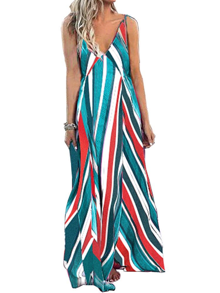 Women Bohemian Sleeveless Strap Stripe Swing Long Maxi Dress