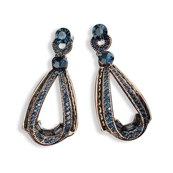 Women's Trendy Rhinestones Crystal Hollow Sapphire Dangle Gold Drop Shape Earrings