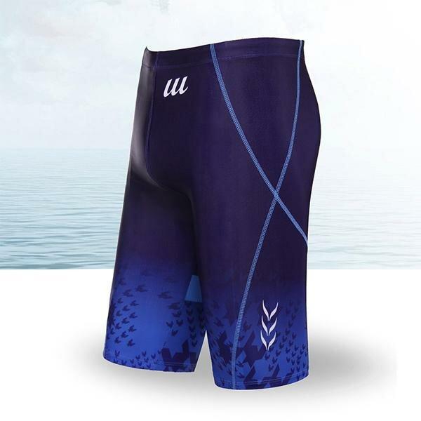 Mens Verão Beach Sexy Low-cintura Boxer Trunks Moda Impressão Long Spa Swimming Shorts