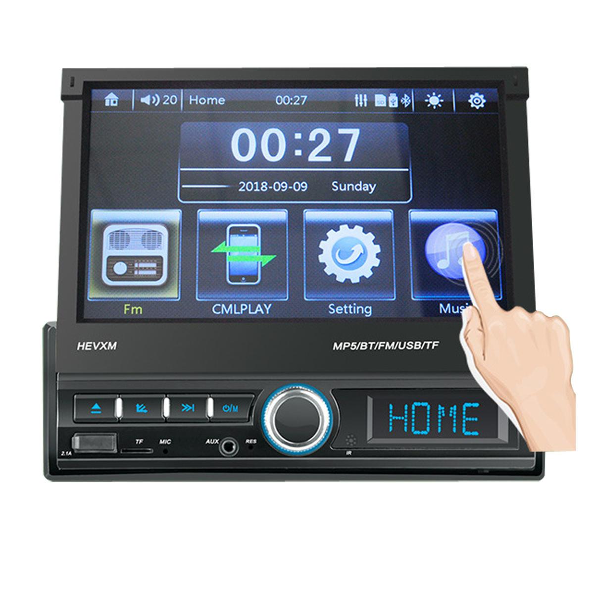 7 بوصة 1 DIN راديو استريو للسيارة لمس شاشة MP5 Player بلوتوث FM USB AUX In Dash