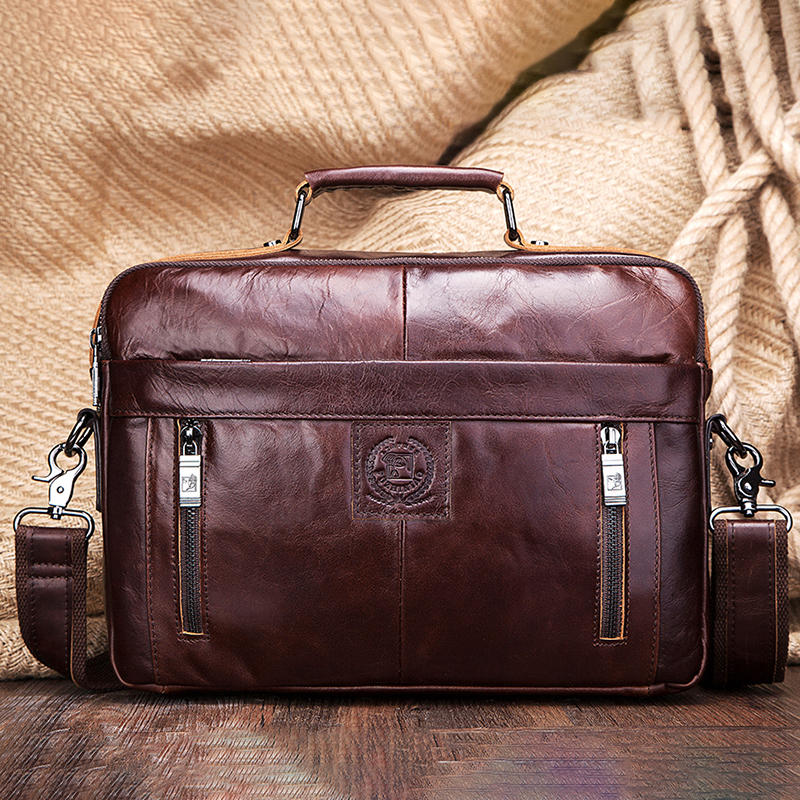 FUZHINIAO Men New Genuine Leather Business Tote Briefcases Crossbody Bags Handbag Messenger Bag