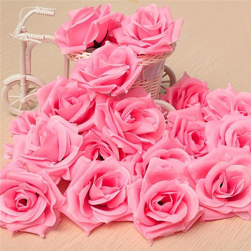 20pcs 80mm Pink Artificial Silk Roses Flower Heads Wedding Decoration DIY Craft