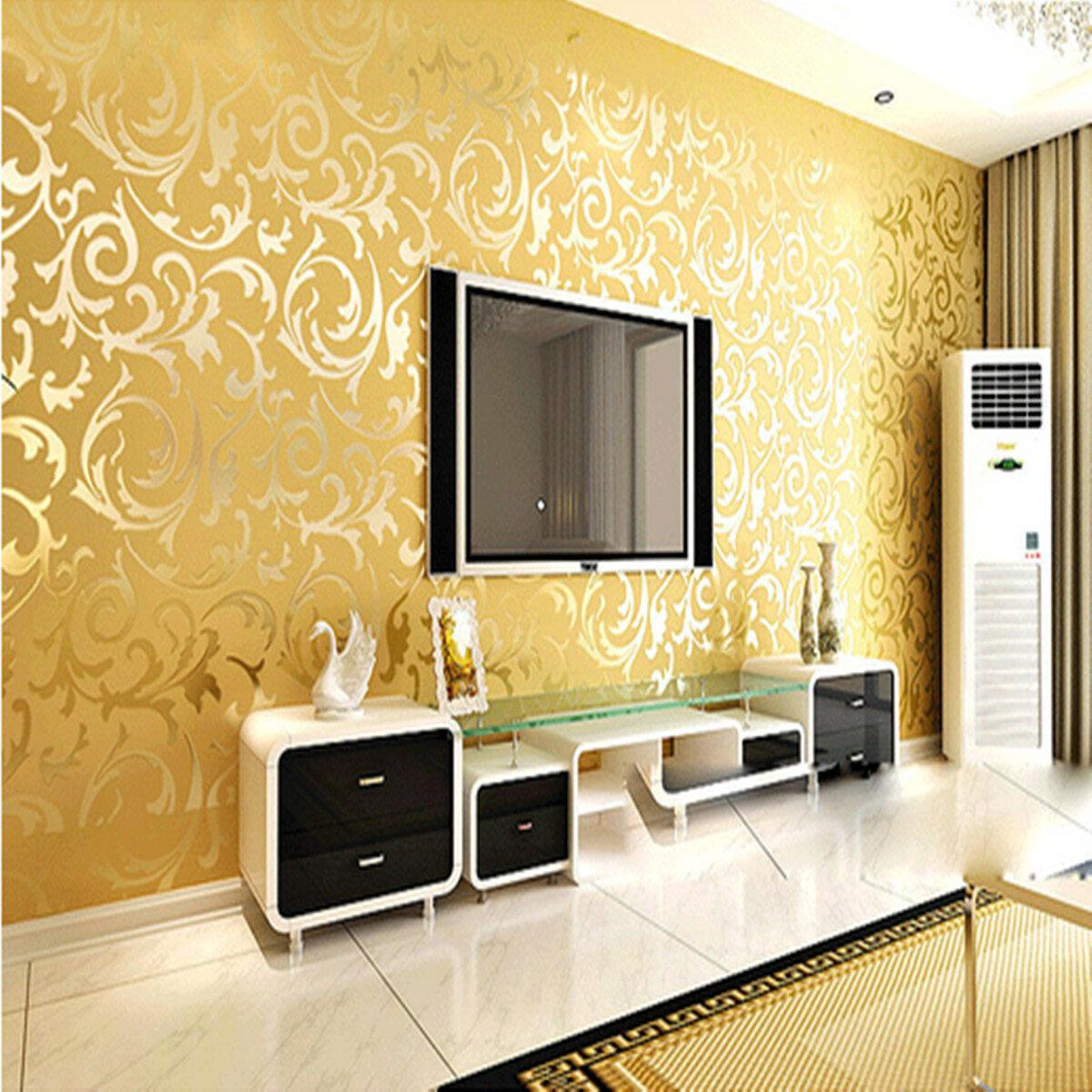 10mx53cm Wallpaper Rolls Silver Golden Apricot Luxury Embossed ...