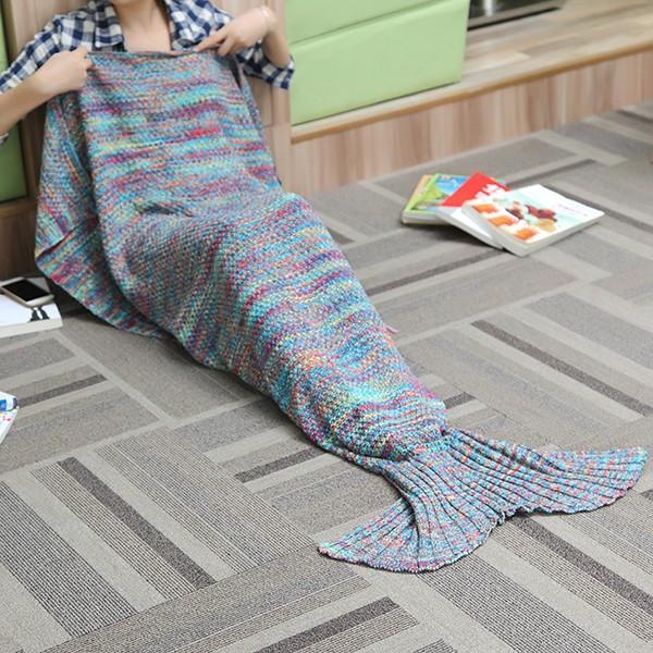 180X90CM 2 Renkli İplik Örgü Denizkızı Kuyruğu Örtüsü İklimlendirme Battaniye Yataklı Mat Uyku Çanta