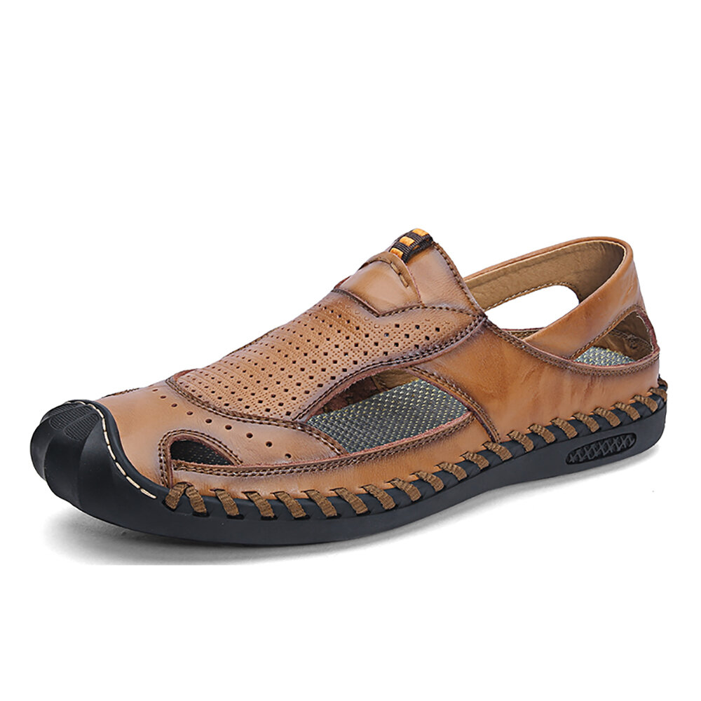 Men Genuine Leather Hand Stitching Breathable Hollow Out Casual Sandals