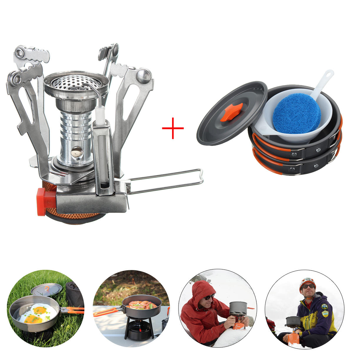 5e53dccf297 camping stove pot pan kit set for outdoor camping backpacking hiking cooking  equipment Sale - Banggood.com sold out