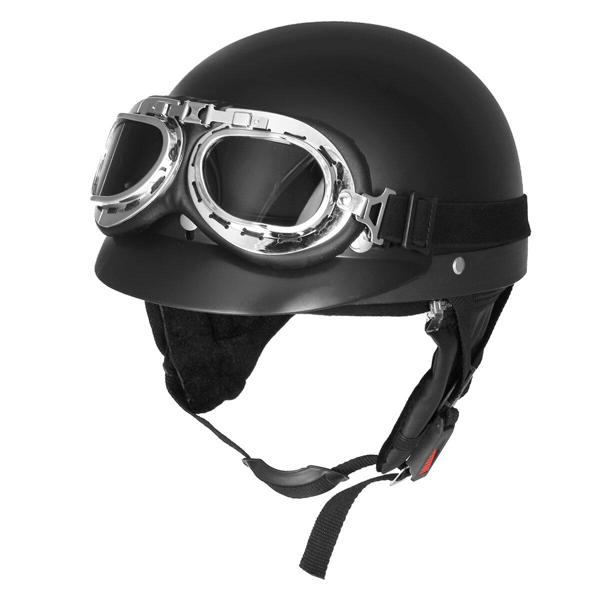 Rétro Matt noir moto demi moto casque scooter avec lunettes de soleil UV lunettes Cafe Racer