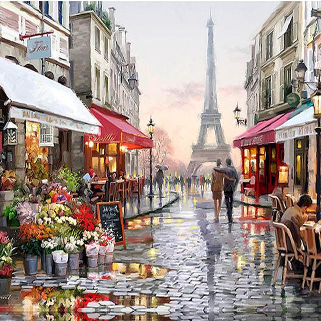 RUOPOTYParisStreetDIYภาพวาดด้วยภาพวาดภาพวาดบนผ้าใบhandpainted ภาพผนังบ้านรูปภาพสำหรับห้องนั่งเล่น