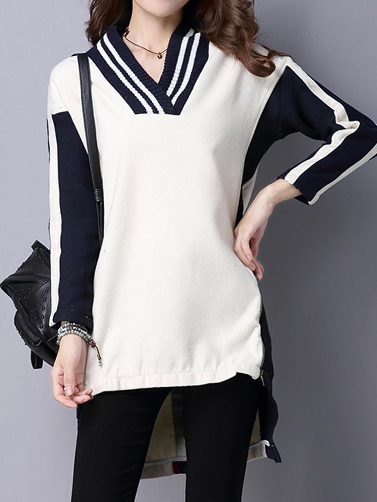 เสื้อกันหนาวลายสก็อต V-Neck Long Sleeve Sweaters