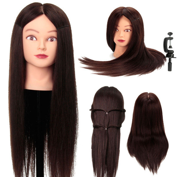 80% Real Human Hair Hairdressing Training Model Mannequin Head Salon with Clamp Holder