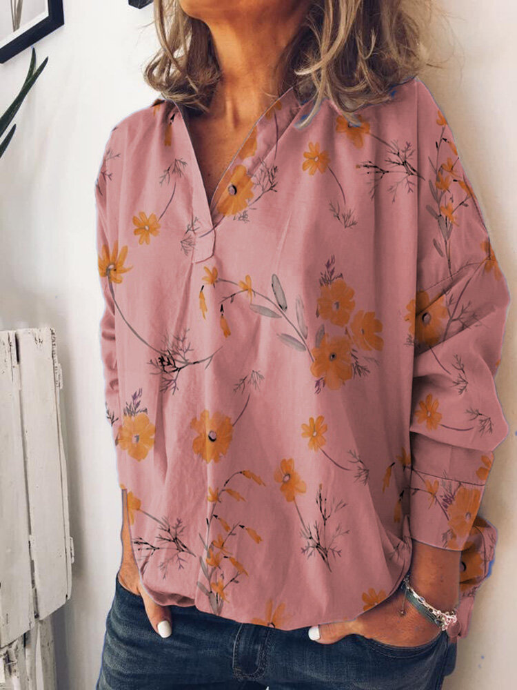 Women V-neck Long Sleeved Floral Printed Casual Shirt