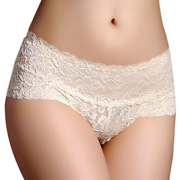 8e38101a9 Women Sexy Lace Mid Waist Open Sex Appeal Underwear Soft Cotton Panties
