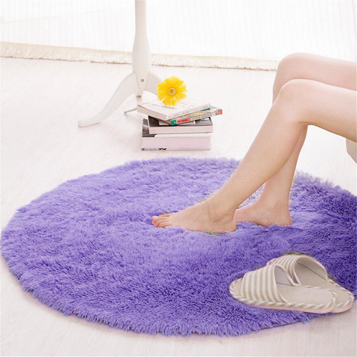 Round Anti Skid Fluffy Gy Area Rug Dining Room Home Table Carpet Floor Mat