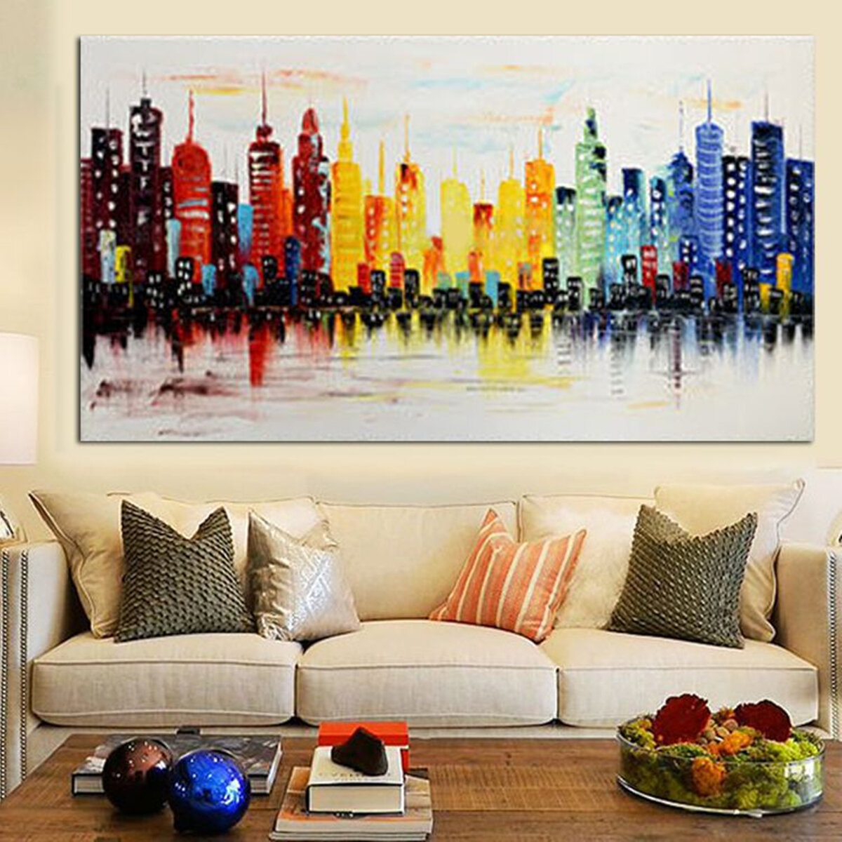 ffe9952960cf 120X60CM Modern City Canvas Abstract Painting Print Living Room Art Wall  Decor No Frame Paper Art COD