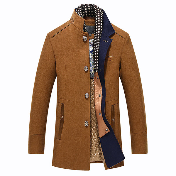 37d21e7c89b Autumn Winter Casual Slim Fit Stand Collar Scarf Detachable Stylish Woolen  Overcoat Jacket for Men COD
