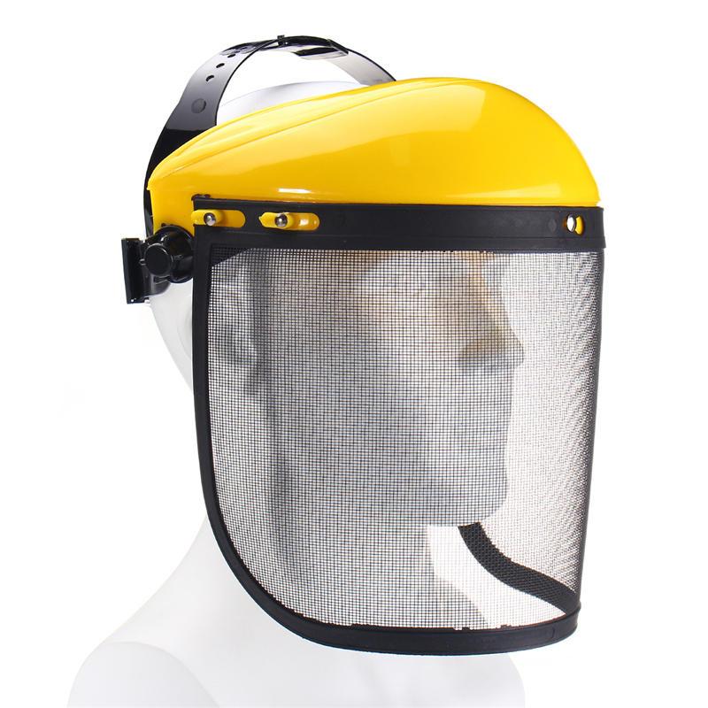 Casco de seguridad de malla metálica grande de malla de acero Sombrero para desbrozadora de motosierra Protector de cara completa Mascara