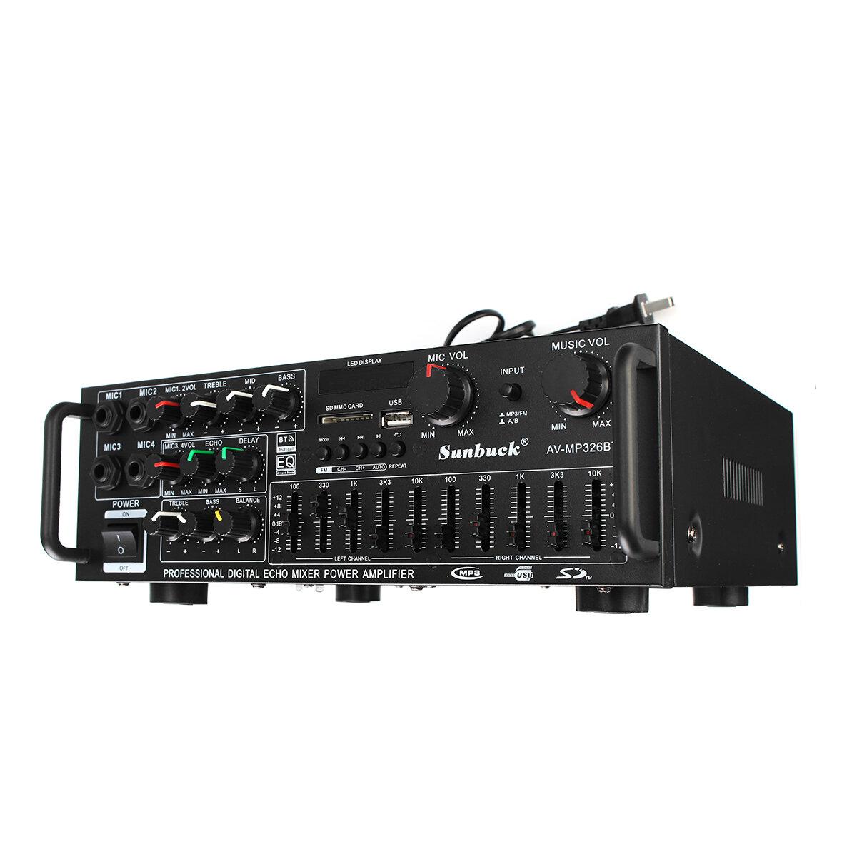 Sunbuck AV-MP326BT 220V 800W 4 ohm 2CH EQ Bluetooth Supporto amplificatore stereo USB Disk SD Card