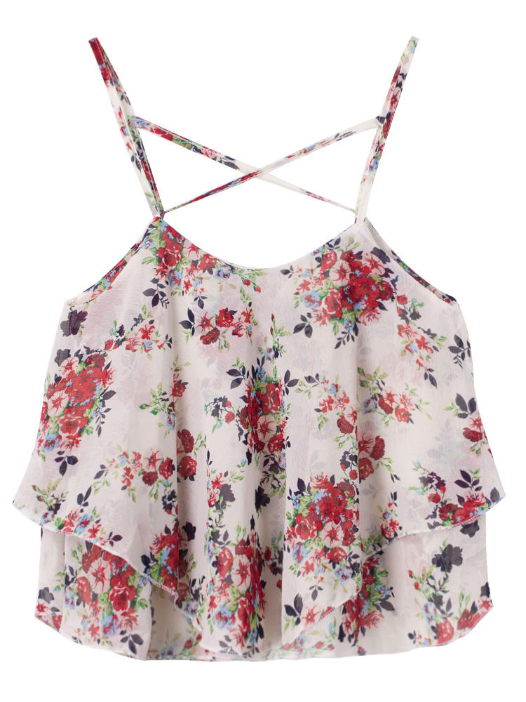 Sexy Women Summer Strap Flower Printing Chiffon Irregular Tank Top