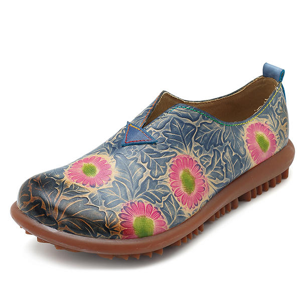 SOCOFY Leather Handmade Retro Floral Pattern Flats Casual Shoes