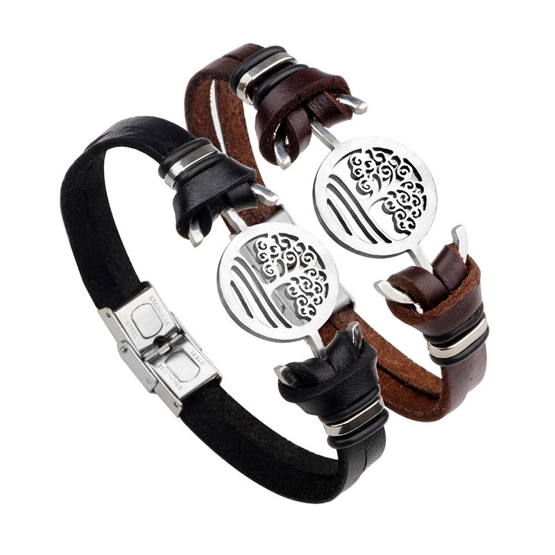 Punk Stainless Steel Anchor Tree of Life Branches Chain Leather Bracelet for Men