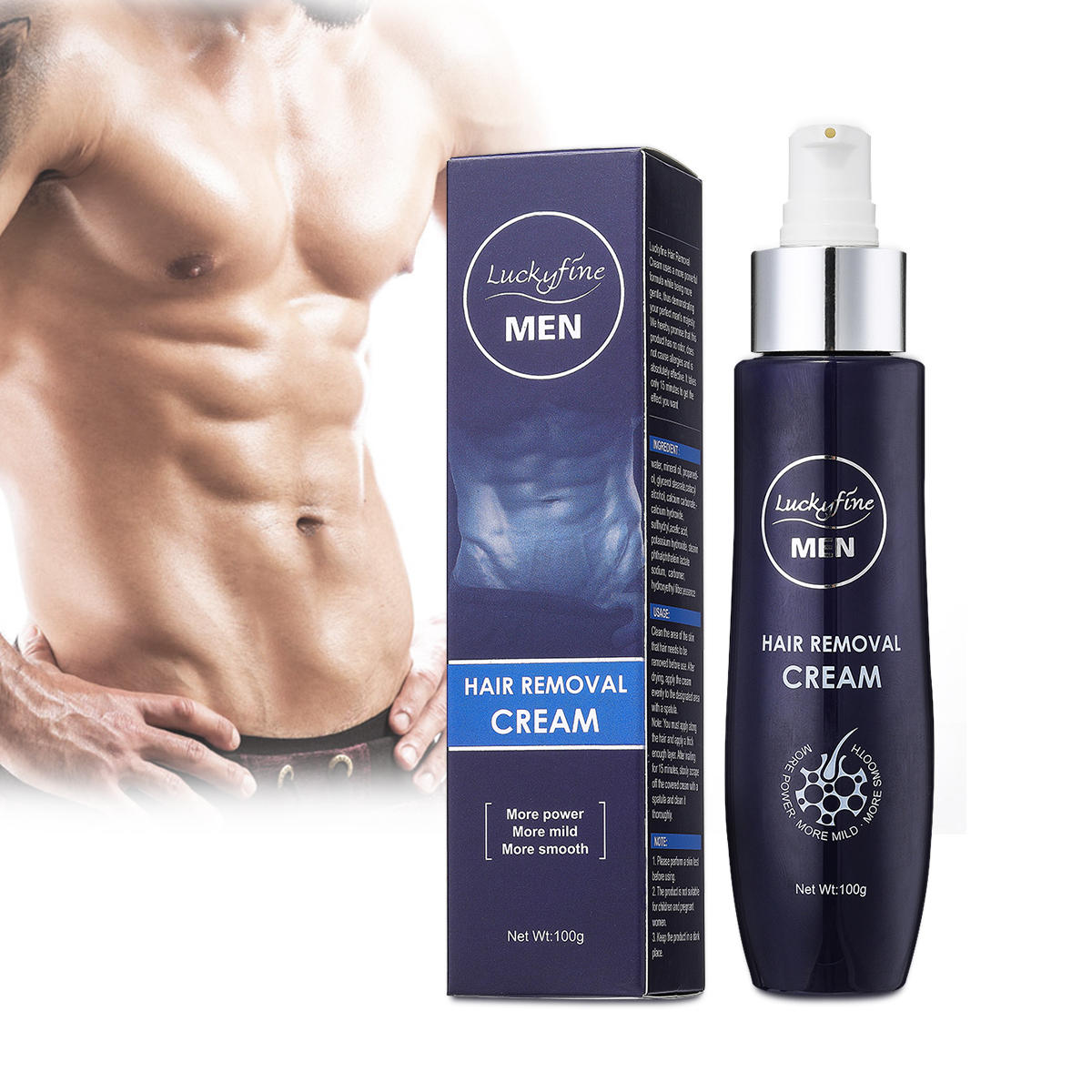 Luckyfine Mens Hair Removal Cream Extra Gentle Hair Growth Stopper for Sensitive Areas Powerful Formula