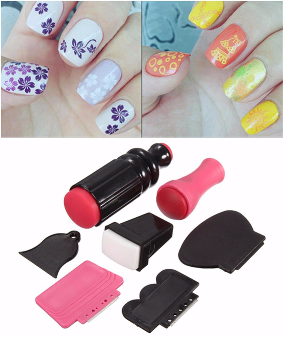 Nail Art Templates Brand New Diy Nail Art Stamping Stamper With Cap Scraper Plate Transfer Manicure Tool Nails Art & Tools