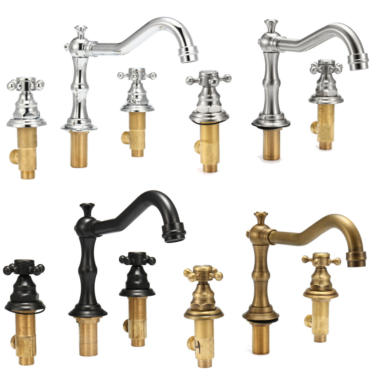 Antique 3 Holes 2 Knobs Tub Spout Basin Bathroom Sink Waterfall Faucet  Widespread Hot Cold Mixer