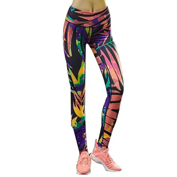 Напечатанные леггинсы тощие седьмой и девятый длина спортивные брюки фитнес колготки Yoga женщины