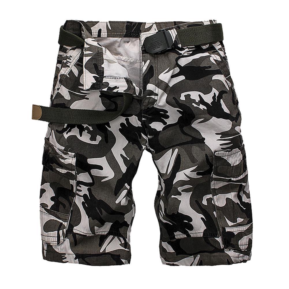 Охота Летние мужские хлопчатобумажные карманы Твердые дышащие свободные повседневные шорты