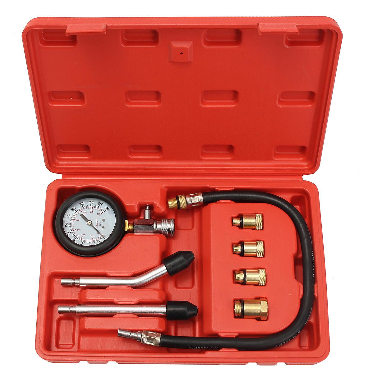Pro Probador de compresión del cilindro de gasolina Motor Oil Kit de medidor de presión motor Auto