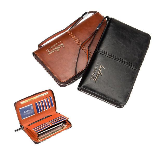 Supporto per carta di credito di Borsa della borsa del raccoglitore della frizione dell'uomo di cuoio multifunzionale per sotto 6 pollici del telefono