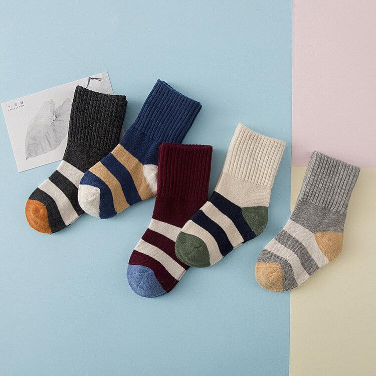 ถุงเท้าเด็ก 5 คู่ถุงเท้าเด็กฤดูหนาว Colorful ถุงเท้าถุงเท้าผ้าฝ้ายถุงเท้าอ่อนนุ่มพิเศษ 3-12 ปี