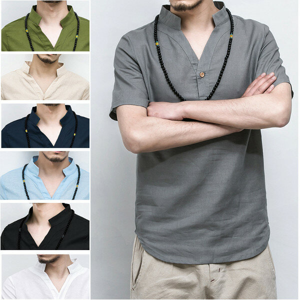 971e01524 Chinese Wind Linen Long Style T-shirts Men's Stand Collar Leisure Solid  Color Short Sleeve