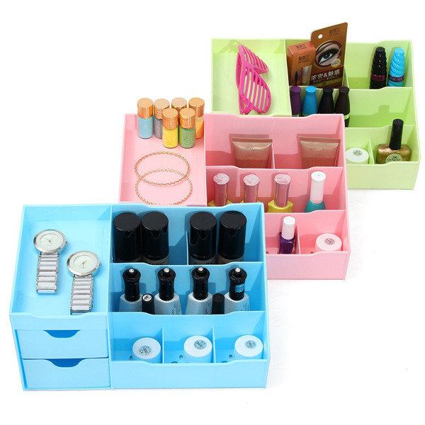 3 สีเครื่องสำอางพลาสติก ออแกไนเซอร์ เครื่องสำอางดึงออกเก็บ Makeup เครื่องมือ ยาทาเล็บ เคส
