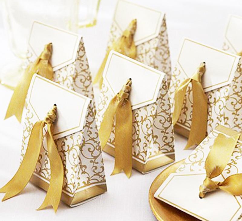 50pcs cajas de papel caja de regalo de boda del partido de chocolate de regalo de dulces de caramelo de la boda creativas
