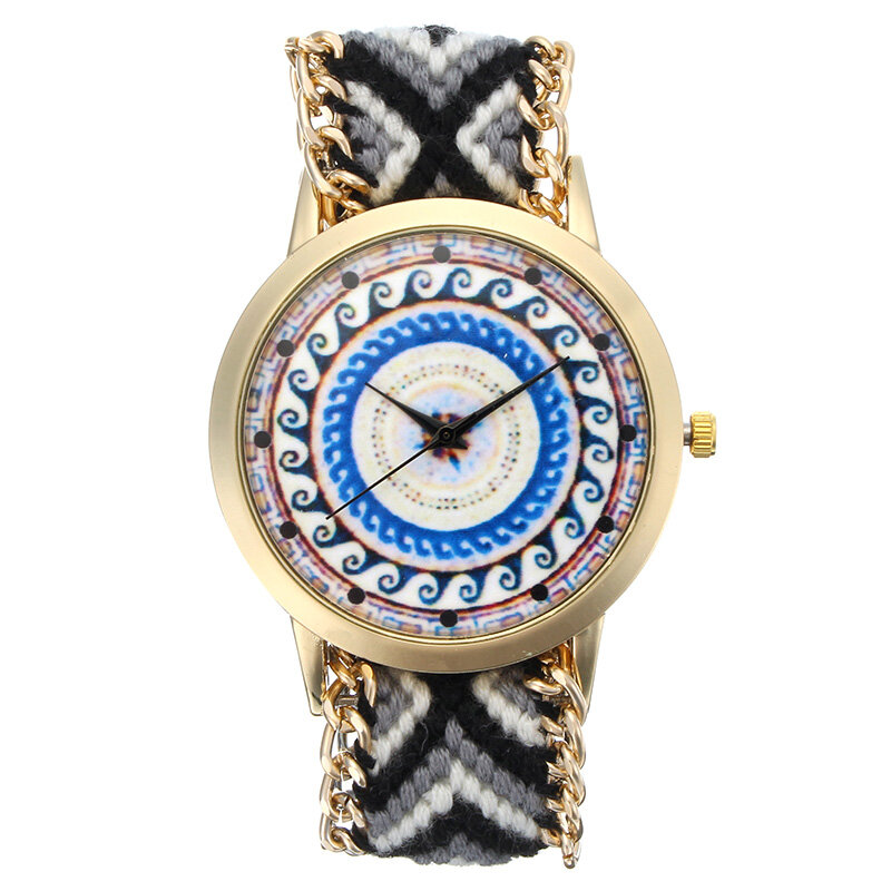 Custom Folk Women Watch Kaleidoscope Pattern Alliage Case Casual Retro Quartz Montre au poignet