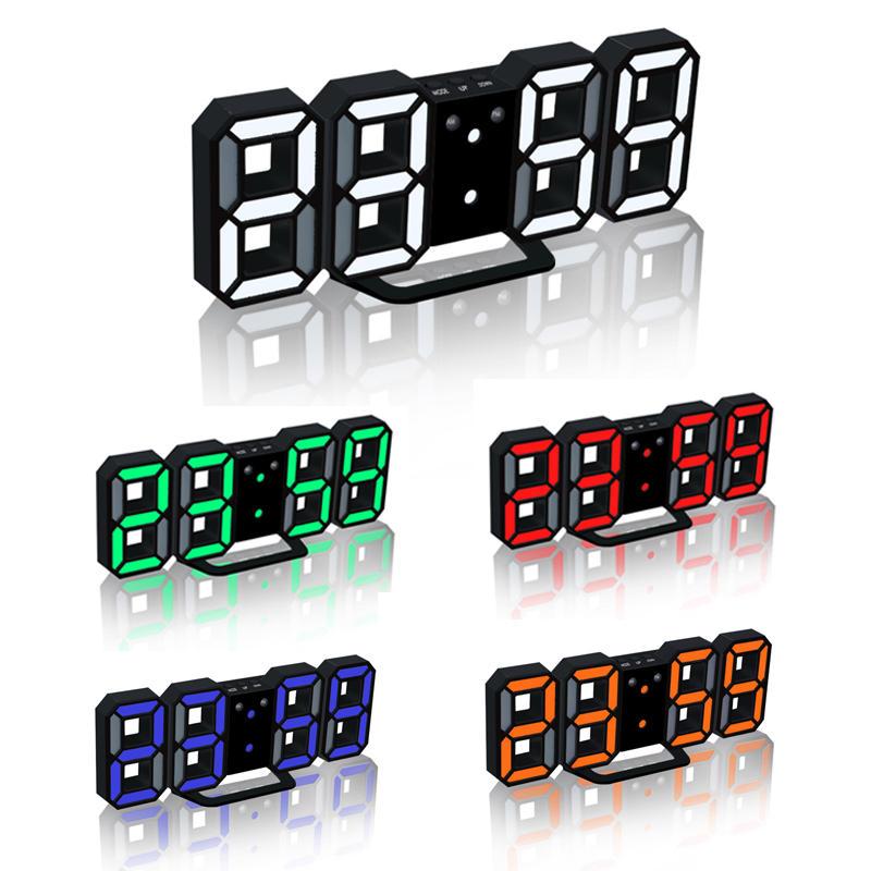 Loskii HC-201 Creative USB Charging Black 3D Digits Adjustable Brightness Snooze Function Night Mode LED Alarm Clock