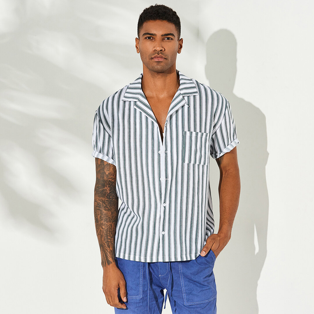e72649cdb99b49 New Men Vertical Stripe Short Sleeve Relaxed Revere Shirts – Chile Shop