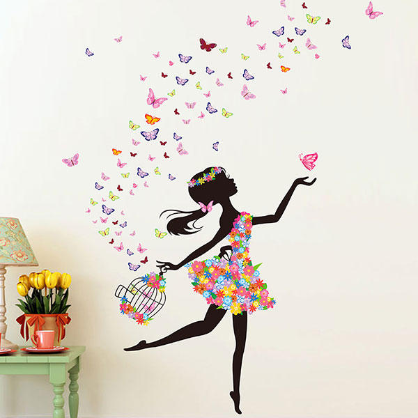 kids room decoration diy wall stickers butterfly flowers fairy dance