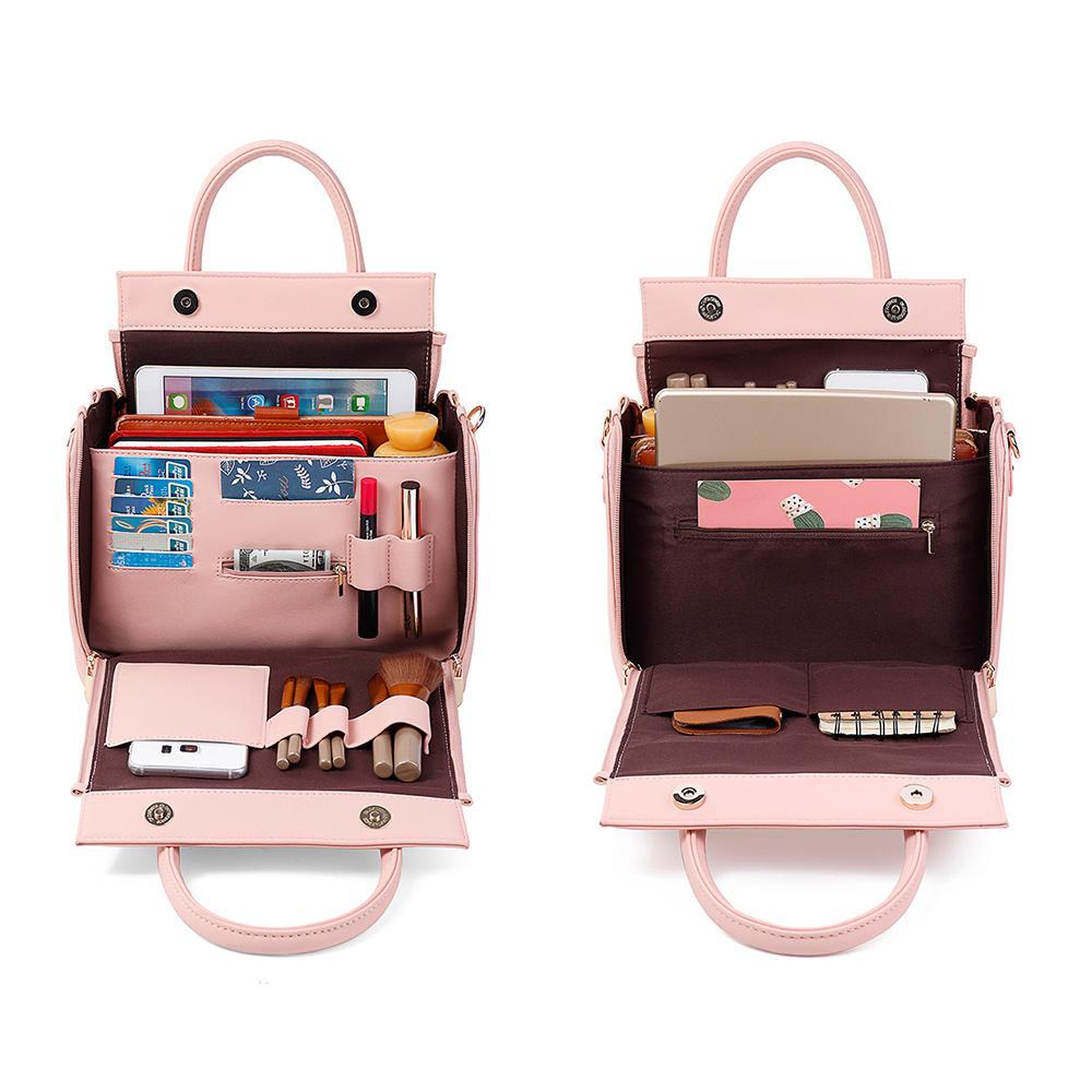 Brenice Women Solid Three Layers Organiser Bag Multifunction Shoulder Bag Handbag Cosmetic Bag