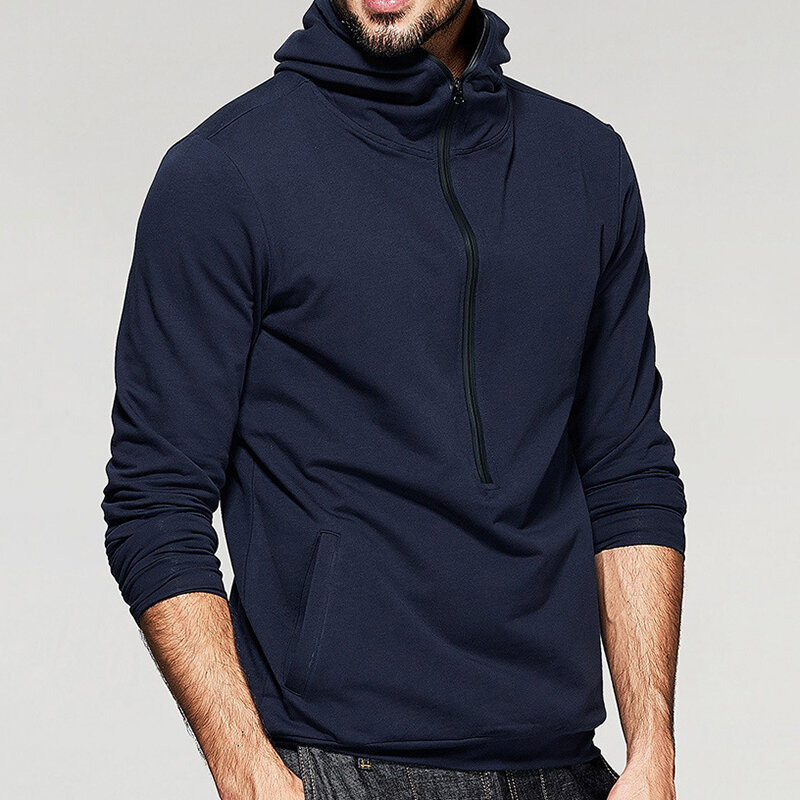 Men's Fashion Zipper Collar Hooded Solid Color Long Sleeve Casual Overhead Sweatshirt