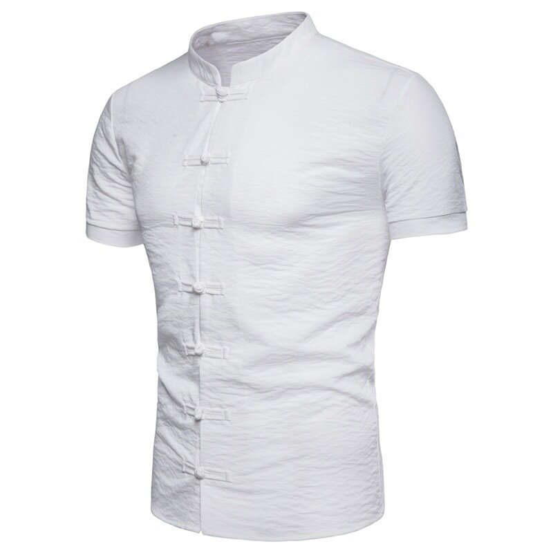f72fc695 Mens Chinese Style Frog Button Stand Collar Solid Color Summer Shirts COD