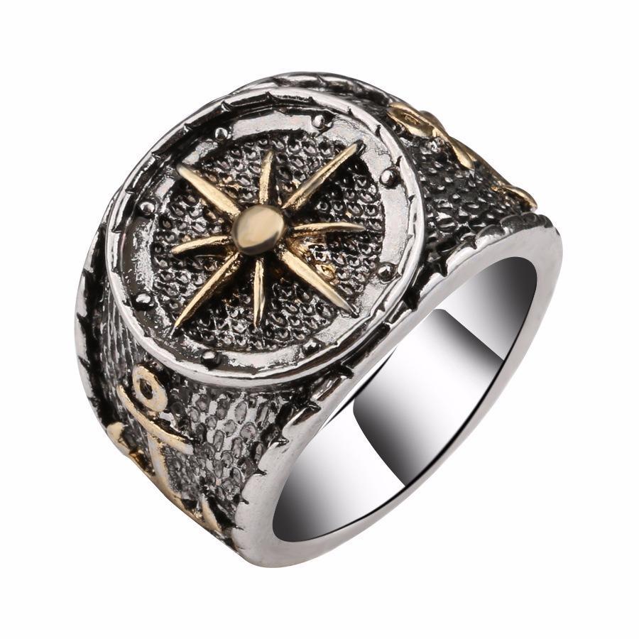 Anillo de dedo retro plata antigua Astrolabium brújula Patrón anillos de joyería étnica para hombres
